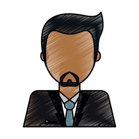 bussinesman: color pencil image caricature faceless half body man with beard vector illustration Illustration