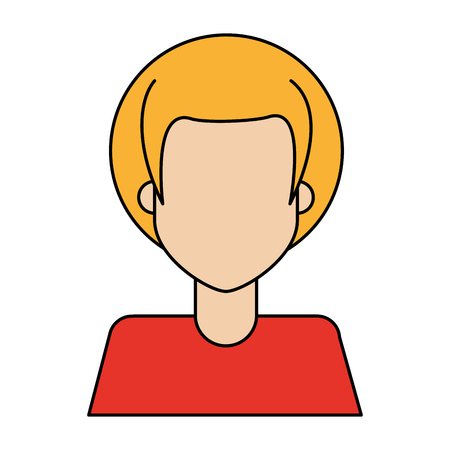 colorful caricature image faceless half body woman with blond short hair vector illustration Illustration
