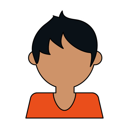 colorful caricature image faceless half body guy with t-shirt vector illustration
