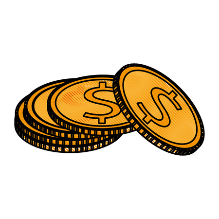 color blurred stripe image caricature stack coins with dollar symbol vector illustration