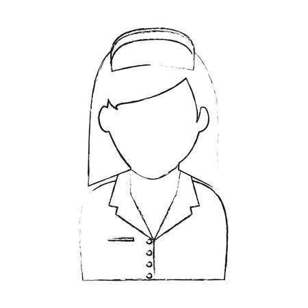scrubs: blurred silhouette faceless female nurse half body vector illustration Illustration