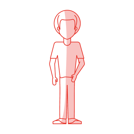 red silhouette shading caricature faceles body man with afro hair vector illustration