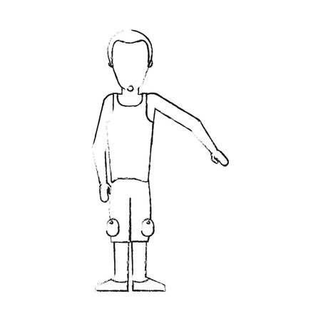 blurred silhouette caricature faceless man with sport clothing vector illustration Illustration