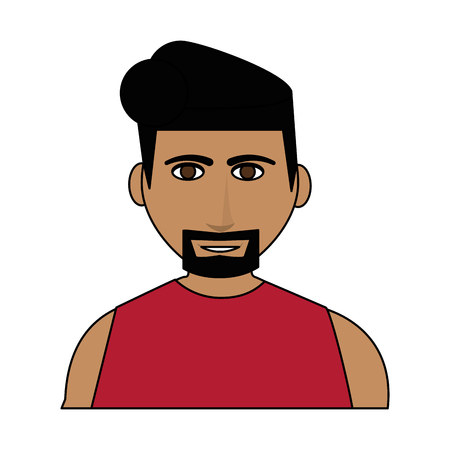 color image cartoon half body man with muscular body and beard with hairstyle vector illustration