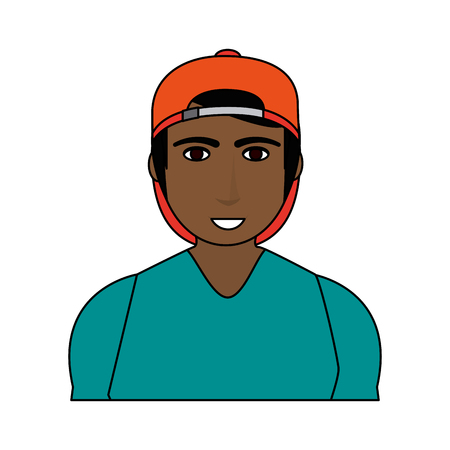 color image cartoon half body brunette man with atlethic body and sport clothing vector illustration