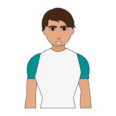 Color image cartoon man with atlethic body vector illustration Stock Vector - 77099966