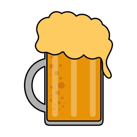 color image cartoon beer jar glass with foam vector illustration