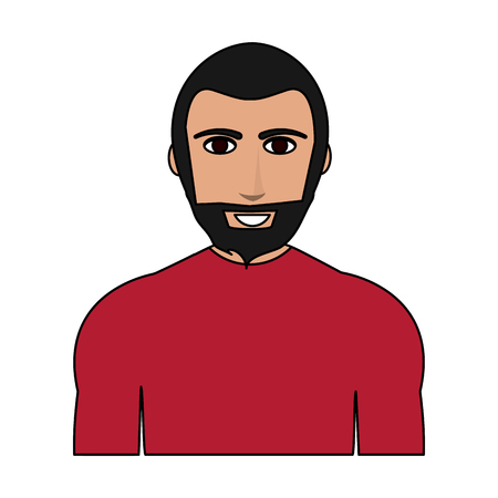 Color image cartoon half body man with muscular body and beard vector illustration