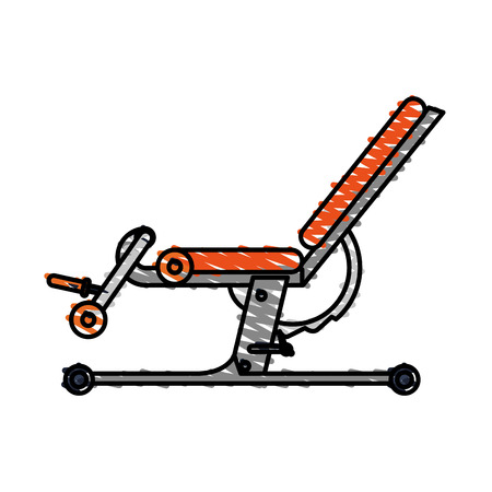 signo pesos: Color drawing pencil cartoon gym machine for exercises vector illustration Vectores