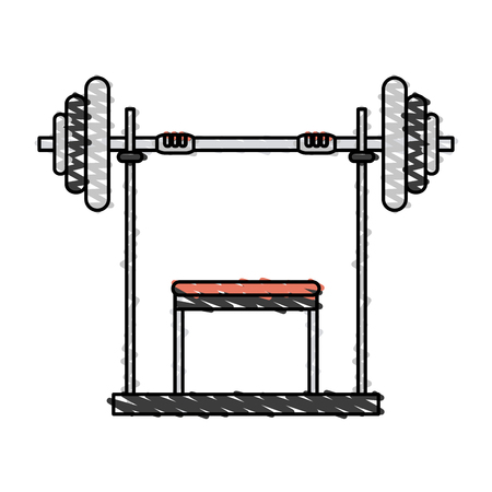 gym equipment: Color drawing pencil cartoon weight lifting machine vector illustration Illustration