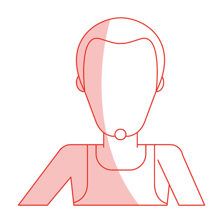 Red silhouette shading faceless half body man with beard vector illustration