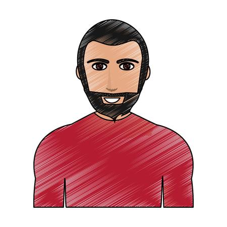 Color pencil cartoon half body man with muscular body and beard vector illustration