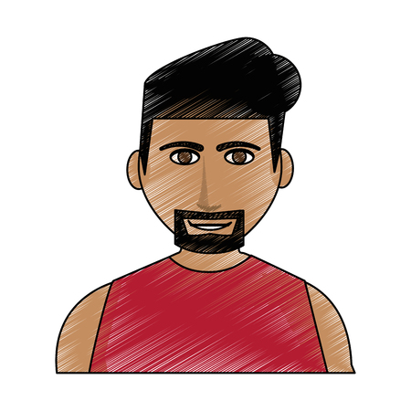 Color pencil cartoon half body man with muscular body and beard with hairstyle vector illustration Illustration