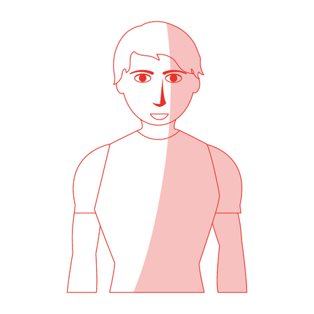 Red silhouette shading man with atlethic body vector illustration