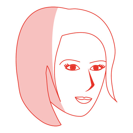 red silhouette shading cartoon side profile face woman with short