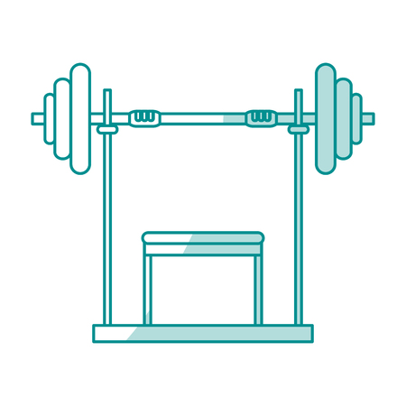 Blue silhouette shading weight lifting machine vector illustration