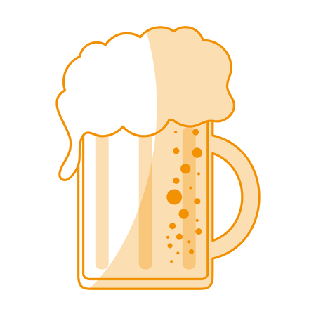 Orange silhouette shading cartoon beer jar glass with foam vector illustration