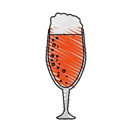jarra de cerveza: Color drawing pencil cartoon beer in cup glass with foam vector illustration