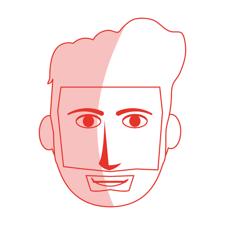 Red silhouette shading cartoon front face guy with beard and mustache vector illustration