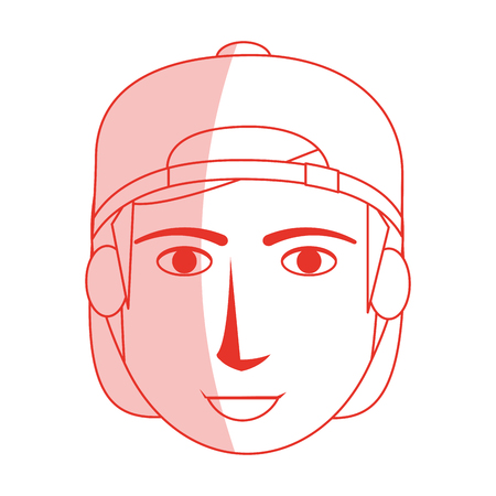Red silhouette shading cartoon front face guy with hat vector illustration Illustration