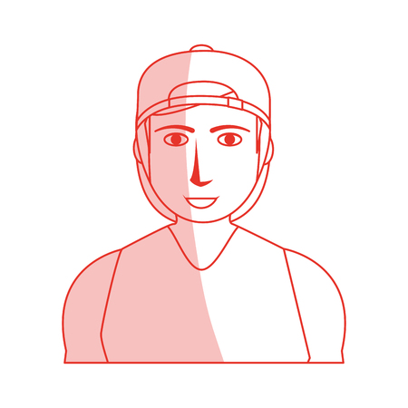 Red silhouette shading cartoon half body guy with atlethic body and sport clothing vector illustration