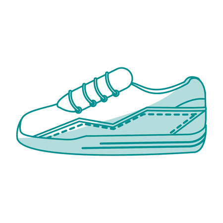 shoelaces: blue silhouette shading sneaker sport shoes vector illustration