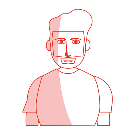 red silhouette shading cartoon half body guy with atlethic body and beard vector illustration Illustration