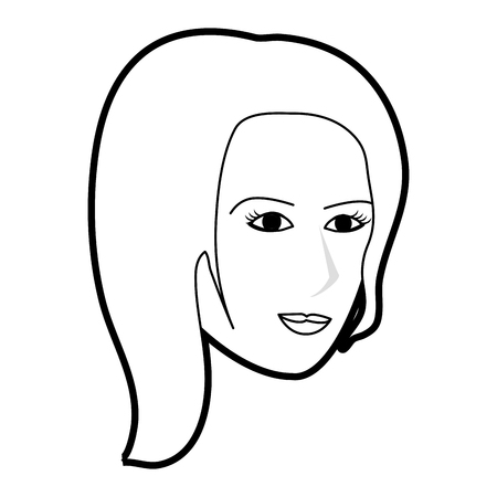 black silhouette cartoon side profile face woman with short hair