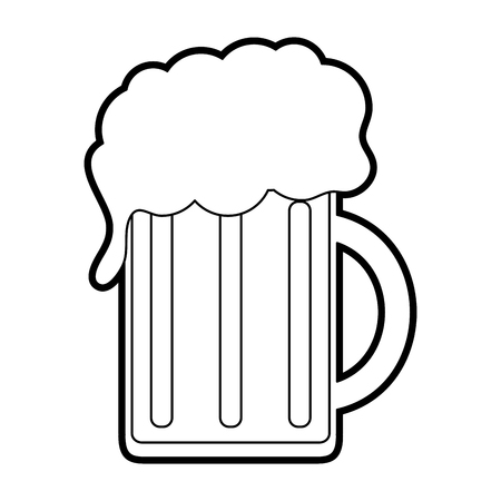 jarra de cerveza: black silhouette cartoon beer jar glass with foam vector illustration Vectores
