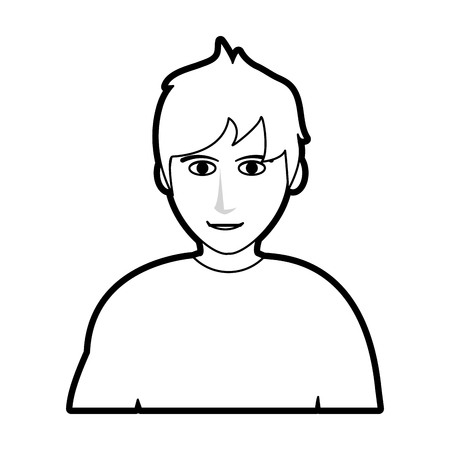 black silhouette cartoon half body man with muscular body vector illustration Stock Vector - 77107489