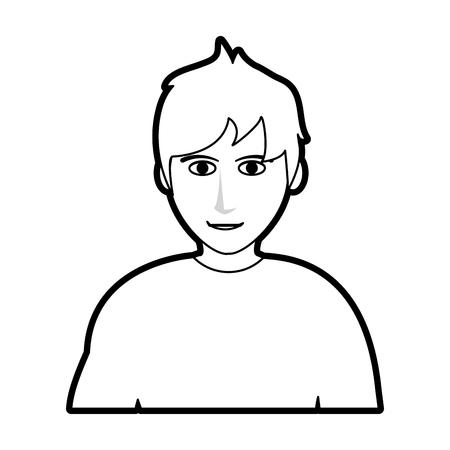 black silhouette cartoon half body man with muscular body vector illustration