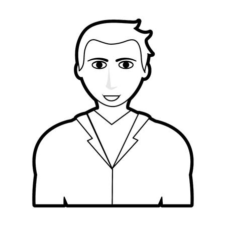 black silhouette cartoon half body man with atlethic body and jacket vector illustration Ilustração