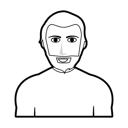 black silhouette cartoon half body man with muscular body and beard vector illustration