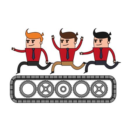 belt up: color image cartoon teamwork riding an belt with gears vector illustration