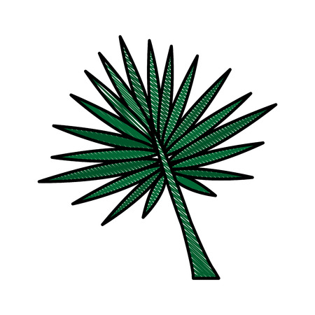 Color blurred stripe image branch with thorns as leaves vector illustration.