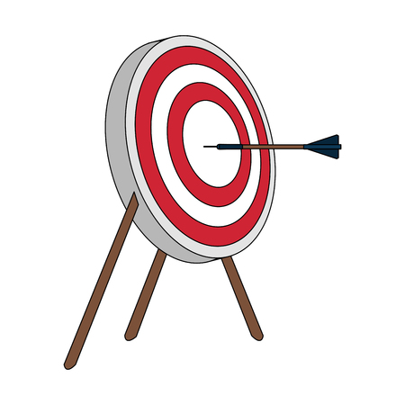 Color image side view target in tripod with arrow vector illustration Illustration