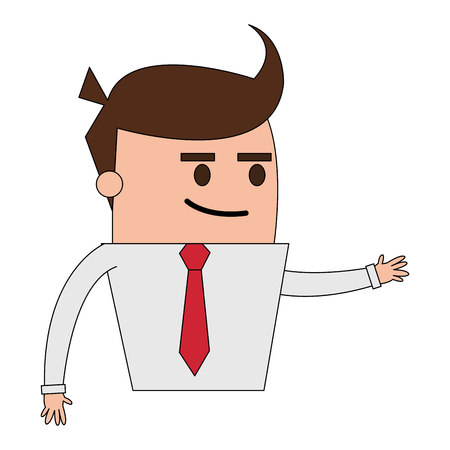 Color image half body cartoon business guy with extended hand vector illustration