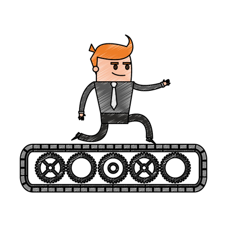 belt up: Color pencil cartoon business man riding an belt with gears vector illustration