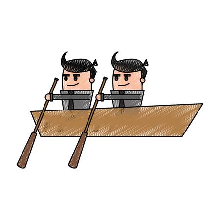 Color pencil cartoon teamwork business in boat vector illustration Illustration