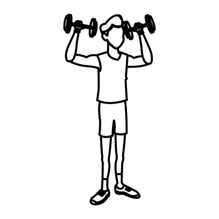 gym equipment: sport man dumbbell fitness active lifestyle line vector illustration
