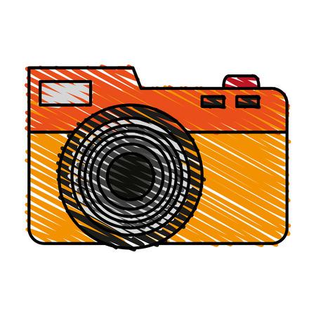 color crayon stripe analog camera with flash vector illustration