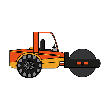 color image cartoon road roller machine vector illustration