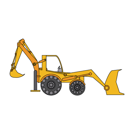 color image cartoon industrial machine excavator vector illustration