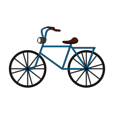 color image cartoon antique bicycle transport vector illustration