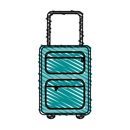 handgrip: color crayon stripe travel suitcase with handle vector illustration