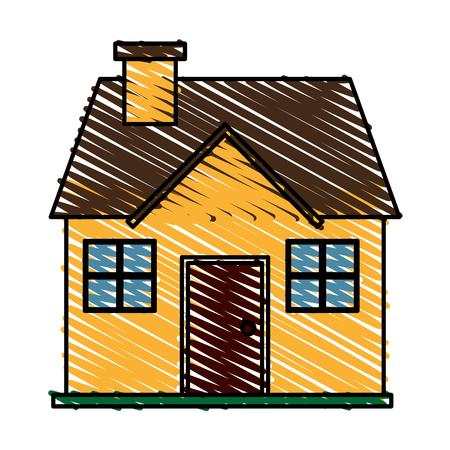 color crayon stripe cartoon facade confortable house with chimney vector illustration