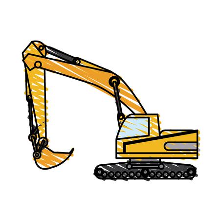 color crayon stripe construction heavy machine excavator vector illustration Illustration