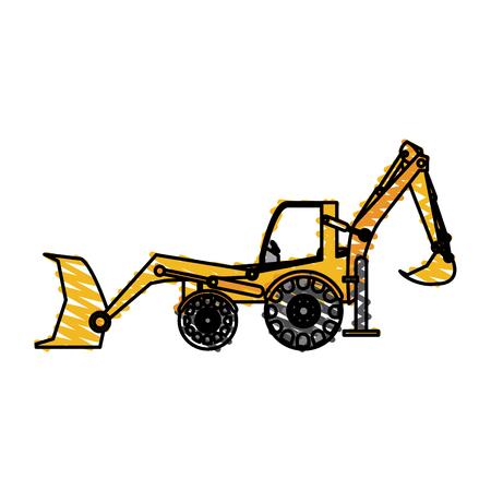 color crayon stripe industrial machine excavator vector illustration Illustration