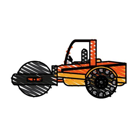 color crayon stripe road roller machine vector illustration
