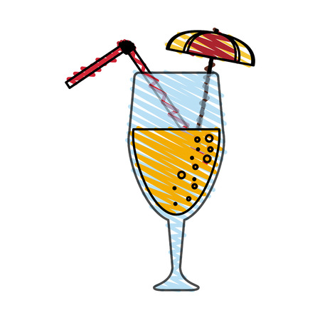 gin: color crayon stripe cartoon glass cup of cocktail with straw and umbrella decorative vector illustration